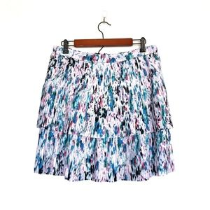 J.Crew Pink Watercolor Two Tier Pleated Skirt